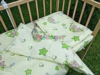 Постельный набор в детскую кроватку (3 предмета) Мишки в гамаке салатовый, фото 1