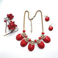 Набор украшений Колье и серьги Fanty красные,женская бижутерия