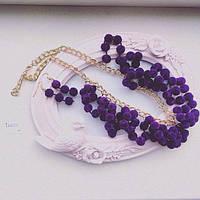 Набор украшений Колье и серьги Бархат фиолетовый,бижутерия магазин