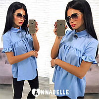 Рубашка женская голубая с брошью АА/-1095, фото 1