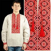 Чоловіча сорочка вишиванка із сірого льону