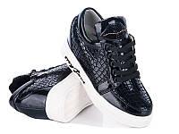 Модная демисезонная обувь. Сникерсы для девочек от производителя Waldem S-20 Black (12/6 ар, 33 - 38)