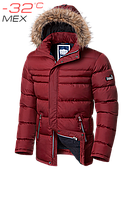 Куртка мужская зимняя с опушкой красная стильная размеры 46-56