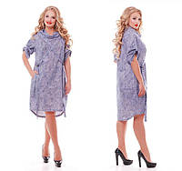 Женское Платье большого размера  Берта коттон варенка 1145 (48-58)
