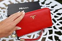Кошелек женский кожаный Prada модный красный
