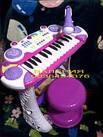 Детское синтезатор с микрофоном и стульчиком., фото 1