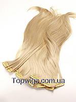 Матовые термо волосы с заколками клипсами Original, трессы 8 прядей, цвет 122 блондин холодный