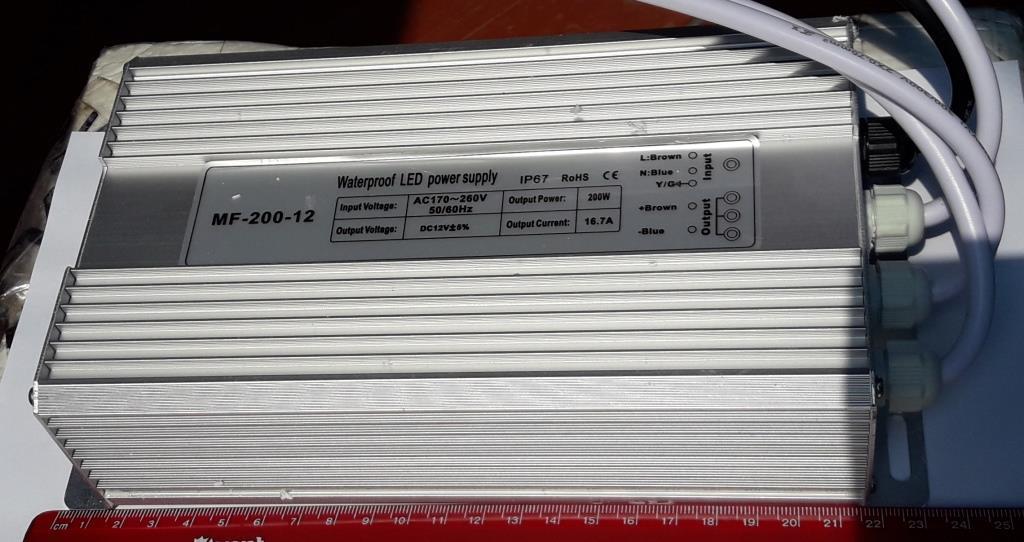 Блок питания в алюминиевом герметичном корпусе 12V 16,7A MF-200-12