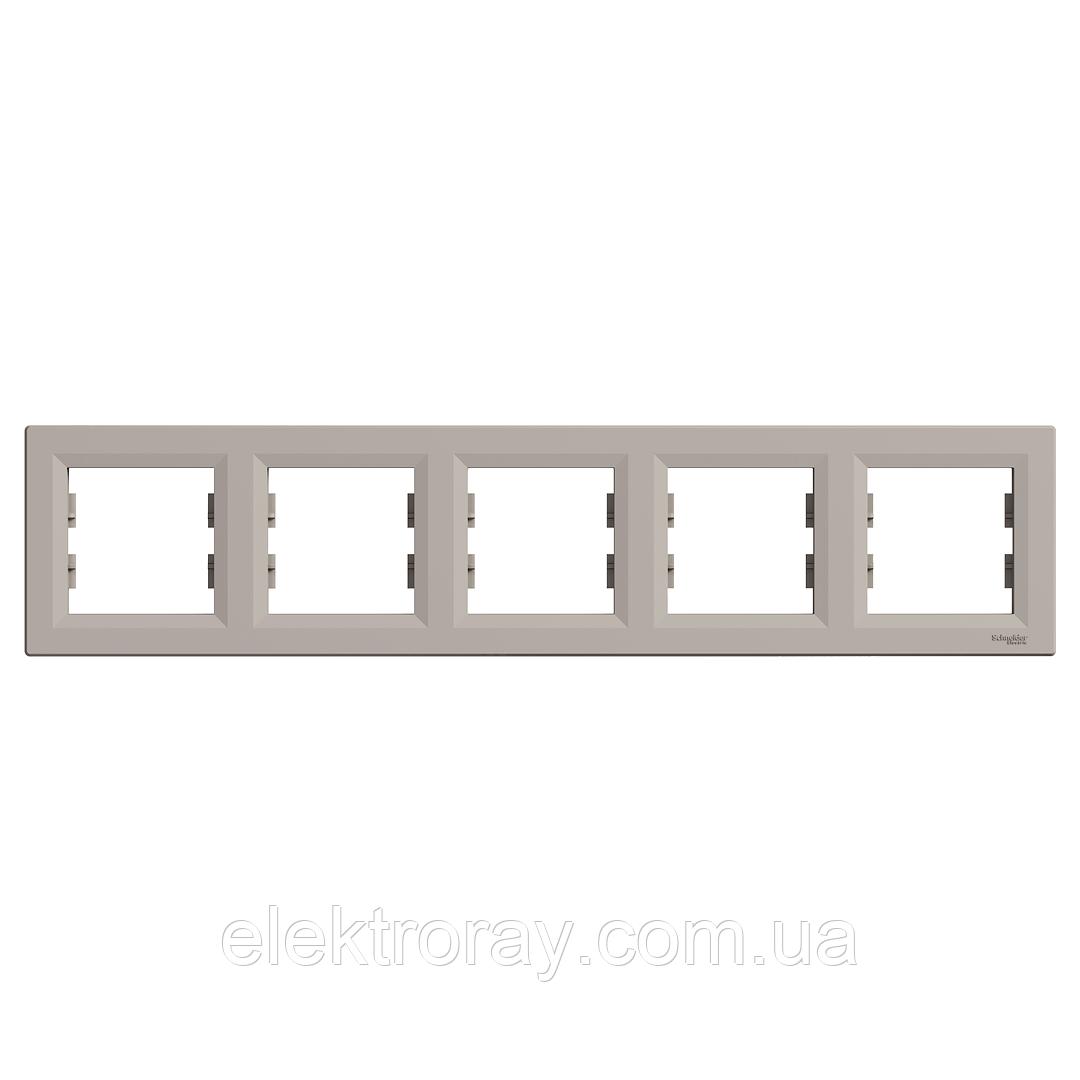 Рамка 5-местная горизонтальная Schneider Asfora Plus бронза