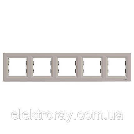 Рамка 5-местная горизонтальная Schneider Asfora Plus бронза, фото 2