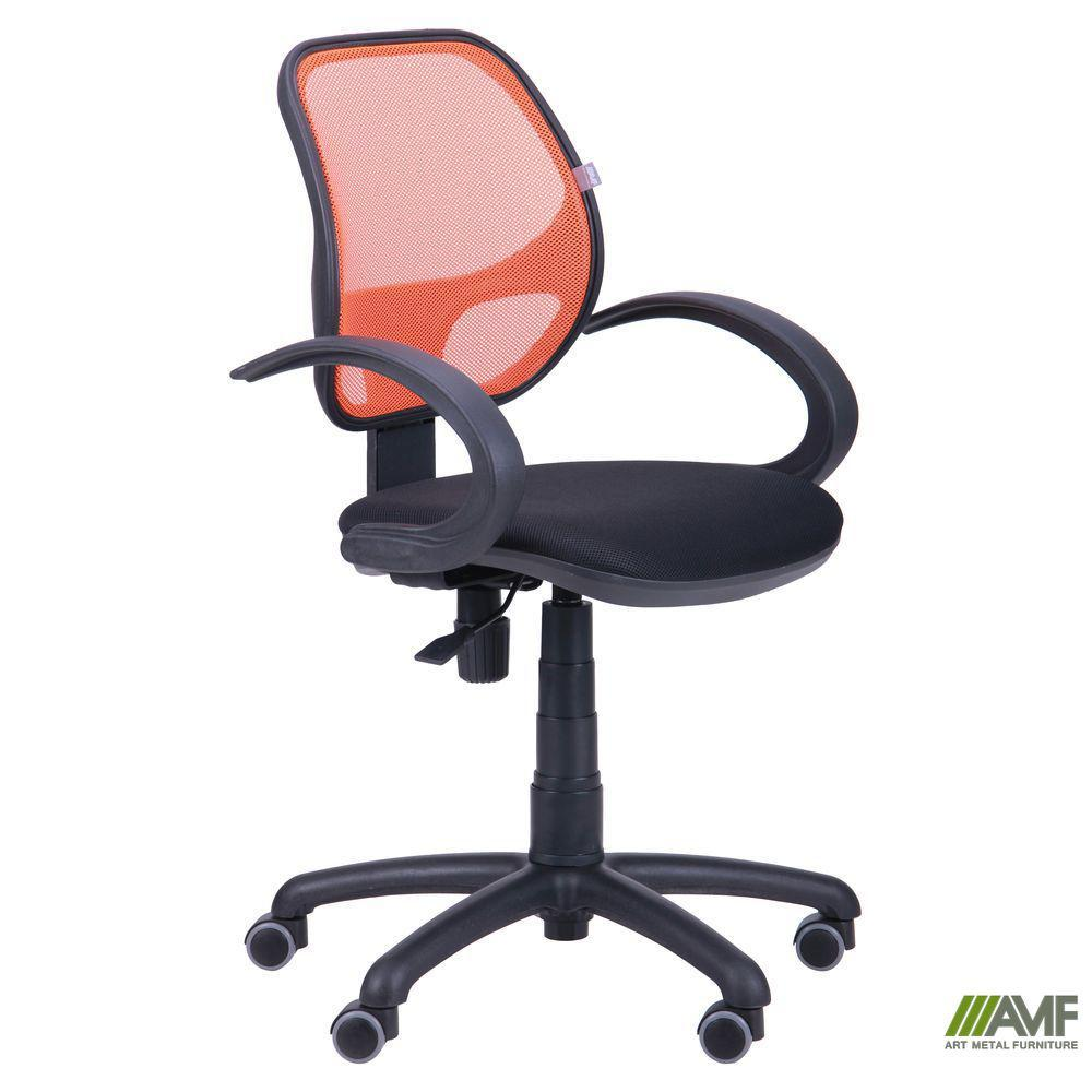 Крісло Байт/АМФ-5 сидіння Сітка сіра/спинка помаранчева Сітка