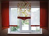 Комплект панельних шторок оранж і теракот квіти, 2м, фото 2