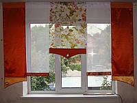 Комплект панельных шторок оранж и терракот цветы, 2м, фото 1