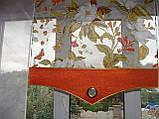 Комплект панельних шторок оранж і теракот квіти, 2м, фото 3