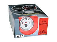 Вольтметр стрелочный 7701(А 01) LED d52мм Вольтметр в прикуриватель