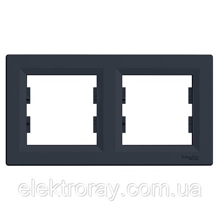 Рамка 2-местная горизонтальная Schneider Asfora Plus антрацит, фото 2