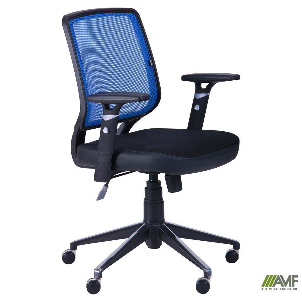 Крісло Онлайн Алюм сидіння Сітка чорна/спинка Сітка синя