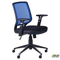 Крісло Онлайн Алюм сидіння Сітка чорна/спинка Сітка синя, фото 1