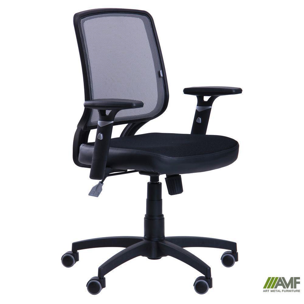 Крісло Онлайн сидіння Сітка чорна/спинка Сітка сіра