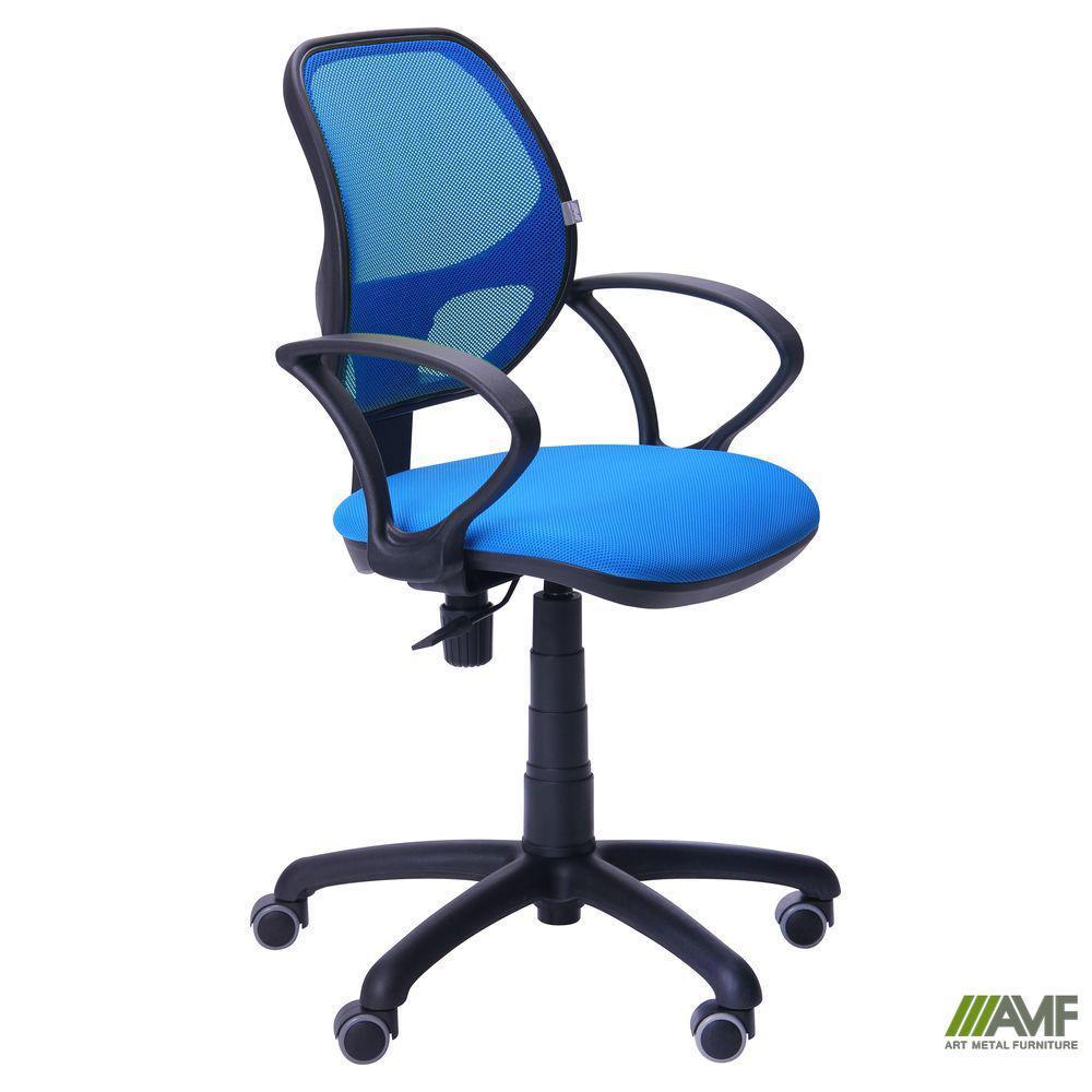 Крісло Байт/АМФ-4 сидіння Сітка чорна/спинка Сітка синя