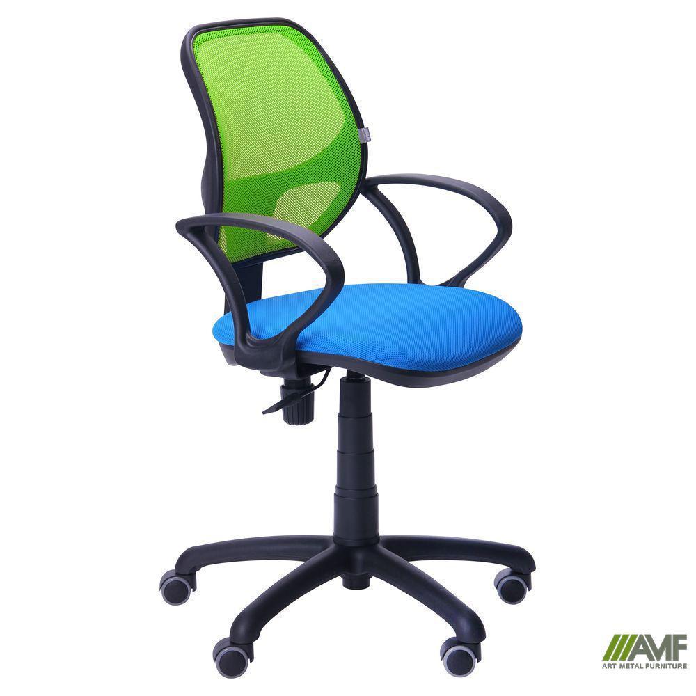 Кресло Байт/АМФ-4 сиденье Сетка черная/спинка Сетка салатовая