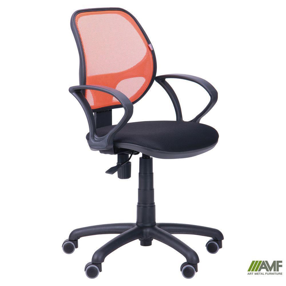 Крісло Байт/АМФ-4 сидіння Сітка чорна/спинка помаранчева Сітка