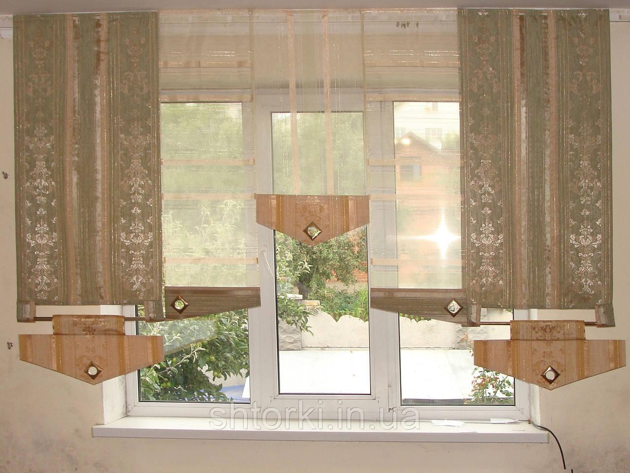 Комплект панельных шторок оливковые, фисташковые, 2м