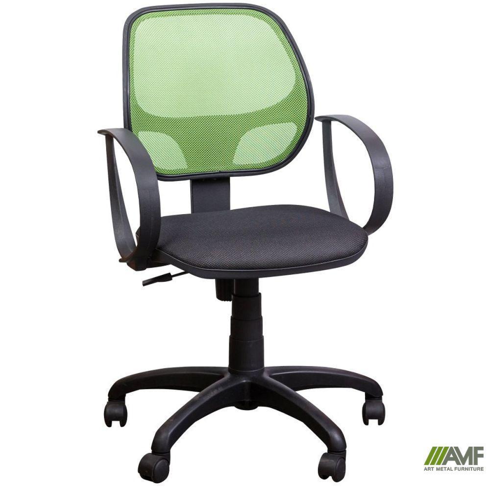 Кресло Бит/АМФ-8 сиденье Сетка черная/спинка Сетка салатовая