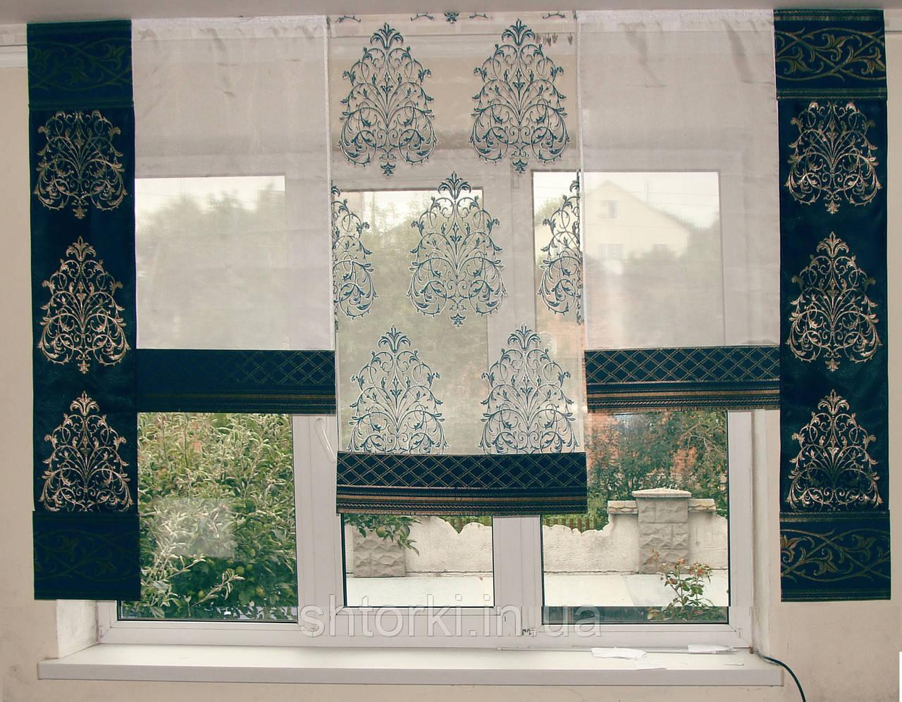 Комплект панельных шторок синие коронки, 2м