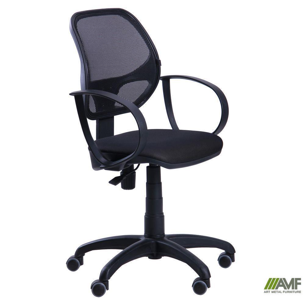 Крісло Біт/АМФ-8 сидіння Сітка чорна/спинка помаранчева Сітка