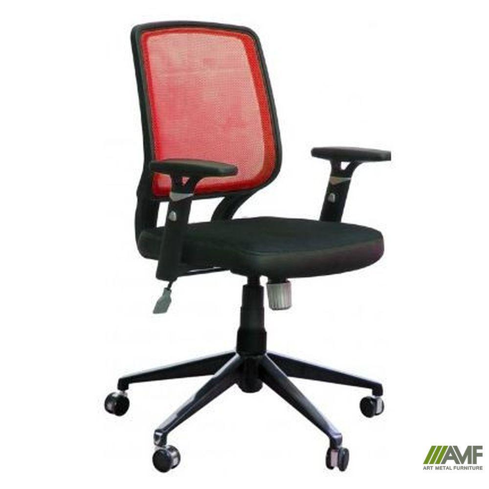 Кресло Онлайн алюм, Сетка красная/Кожа Люкс комбинированная Авокадо