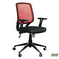 Кресло Онлайн алюм, Сетка красная/Кожа Люкс комбинированная Авокадо, фото 1