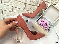 Шикарные туфельки на шпильке (розовая пудра)