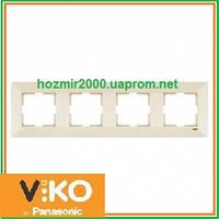 Четверная горизонтальная рамка Viko Meridian крем