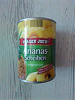 Консервированный ананас в сиропе Trader Joe's кольцами, 560 гр