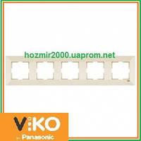 Пятерная горизонтальная рамка Viko Meridian крем