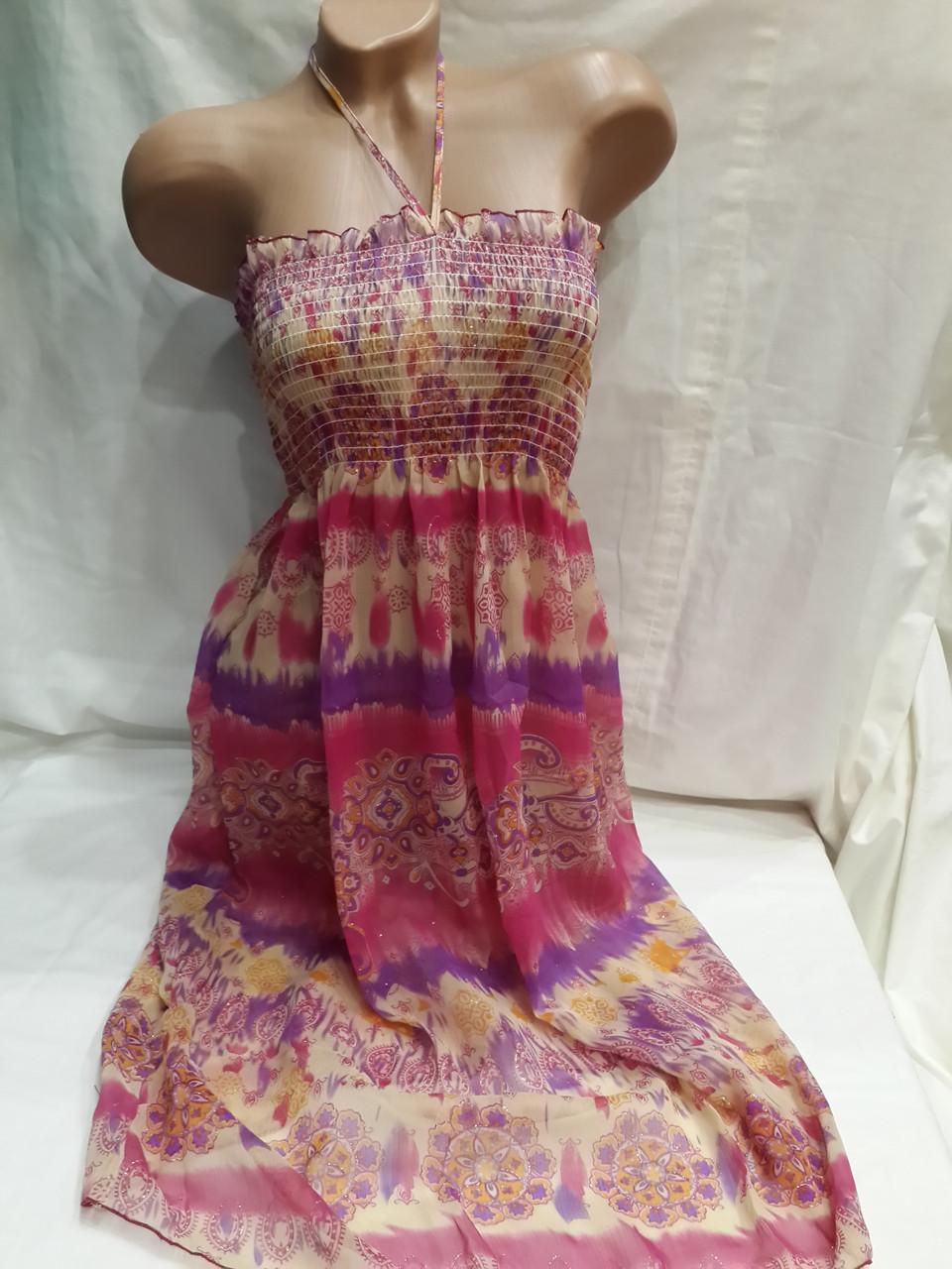 Сарафан-юбка пляжный 001 розовый,идет на наши 40-44 размеры.