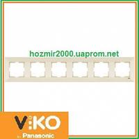Шестерная горизонтальная рамка Viko Meridian крем