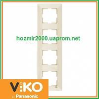 Четверная вертикальная рамка Viko Meridian крем