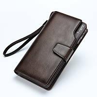 Мужской кожаный бумажник, клатч Baellerry коричневый