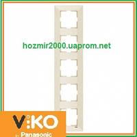 Пятерная вертикальная рамка Viko Meridian крем