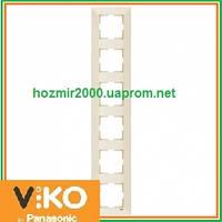Шестерная вертикальная рамка Viko Meridian крем