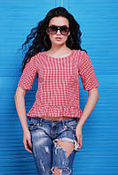 Блуза-рубашка Suzis 1477 (3 цвета), блузка в клетку