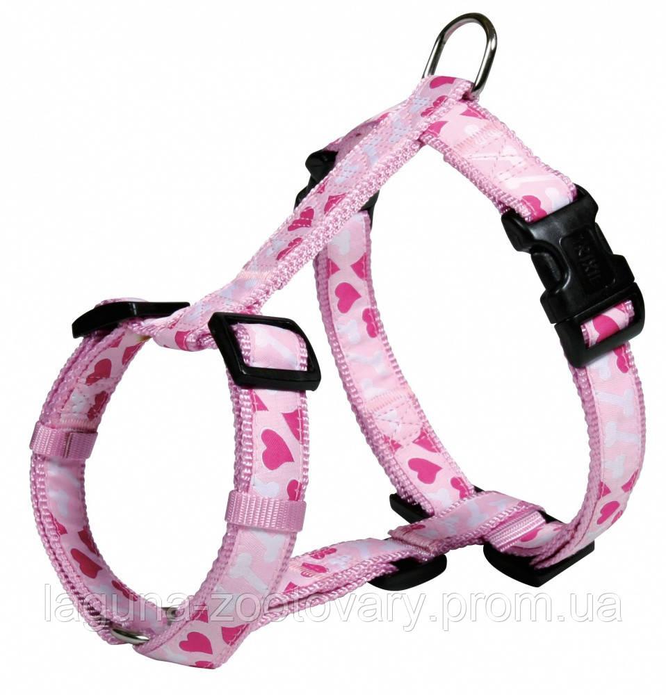 "Шлейка для собак 50-75см/25мм ""СЕРДЦЕ"" стандарт, розовый"