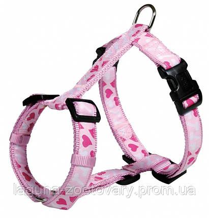 "Шлейка для собак 50-75см/25мм ""СЕРДЦЕ"" стандарт, розовый, фото 2"