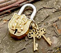 "Замок навесной бронзовый ""Ганеш"" (8,5х2х4,5 см)"