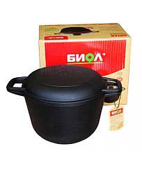 Кастрюля чугунная Биол с крышкой-сковородой 6 л.