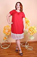 Платье Лен кружево (4 цвета), льняное платье большого размера 54, красный
