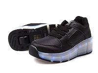 Роликовые черные кроссовки для девочки USB (свет.подошва) +колесики р 31-38
