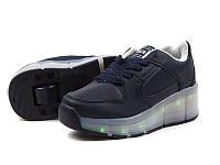 Роликовые синие кроссовки для подростковUSB (свет.подошва) +колесики р 31-38